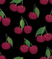 Padrão de cereja. Padrão sem emenda do deserto Berry. Fruta fresca comida vetor