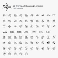 72 Transportes e Logística Pixel Perfect Icons Line Style.