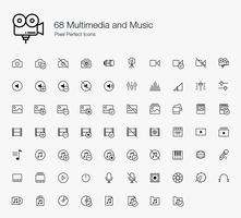 68 Multimídia e Música Pixel Perfect Icons Line Style.