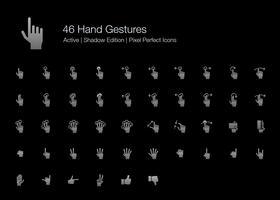 46 Gestos de Mãos e Ações com Dedos Pixel Perfect Icons (Edição de Sombra de Estilo preenchido). vetor