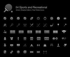 54 ícones perfeitos de pixel de esportes e recreação (edição de sombra de estilo preenchido). vetor