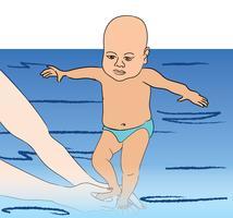 Bebê nada Aula de natação vetor