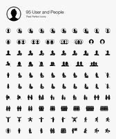 95 ícones perfeitos do usuário e do pixel dos povos (estilo enchido). vetor