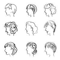 Enfrenta o perfil com diferentes expressões no estilo de desenho retrô. vetor