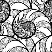 Padrão sem emenda espiral abstrata. Onda nautilus fundo marinho vetor