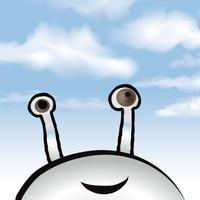 Fundo do céu nublado. Animal fictício olhando a nuvem