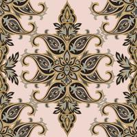 O flourish floral do teste padrão telhou a origem étnica oriental. Ornamento árabe com fantásticas flores e folhas. Motivos do País das Maravilhas das pinturas de antigos padrões de tecido indiano.