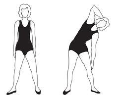 Silhuetas de mulheres elegantes, fazendo exercícios de fitness. Conjunto de ícones do clube de fitness, vetor