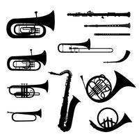 Conjunto de instrumentos de música. Silhuetas de instrumentos musicais de latão vetor