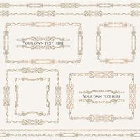 Quadros florais caligráficos. Bordas de vinheta de decoração de página, conjunto de divisores vetor