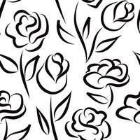 Padrão sem emenda floral. Fundo de flor. Textura gravada vetor