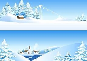 Pacote de papel de parede vectorial de paisagem de inverno
