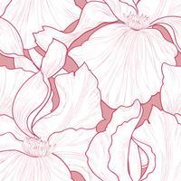 Padrão sem emenda floral. Fundo de gravura de pétala de flor. vetor
