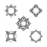 Conjunto padrão floral de linha ornamental. Ornamento de armação de flor árabe