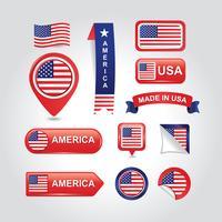 Conjunto De Vetor De Bandeira Elemento Americano