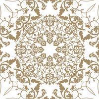 Ornamento de linha redemoinho floral árabe. Padrão sem emenda de flor Oriental