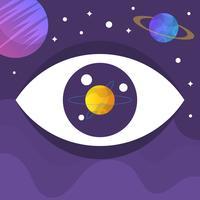 Ilustração em vetor plana olho galáxia