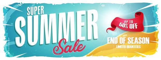 Banner largo de venda de férias de verão vetor