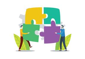 Conectando o quebra-cabeça vetor