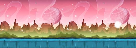 Paisagem alienígena de ficção científica de fadas para jogo de interface do usuário