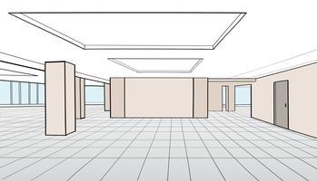 Sala de escritório interior. Sala de conferência, escritório empresarial, espaço aberto vetor