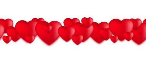 Corações do dia dos namorados, balões de amor no fundo branco vetor