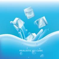 Desenho vetorial de cubo de gelo realista vetor