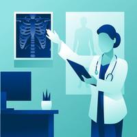 Doutor fêmea personagem explicando o raio-x vetor