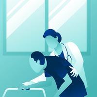 Médico feminino, ajudando, homem velho vetor