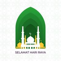 Ilustração em vetor plana Selamat Hari Raya Eid Mubarak