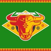 Distintivo de Boi Bull vermelho amarelo Bumba Meu em fundo verde vetor