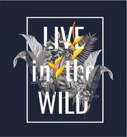 slogan com flor silvestre e folhas de ilustração