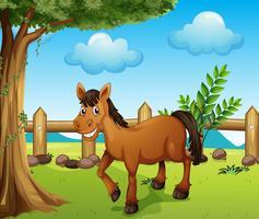 Um cavalo sob a árvore vetor