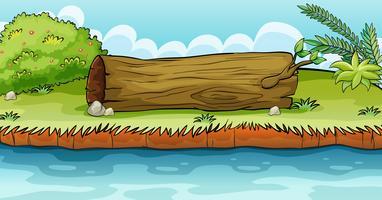 Um grande tronco ao lado da lagoa vetor