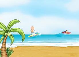 praia e oceano vetor