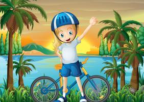 Uma garota feliz e sua bicicleta na beira do rio vetor