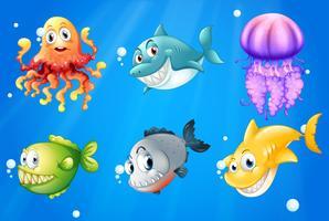 Um oceano profundo com criaturas sorridentes vetor