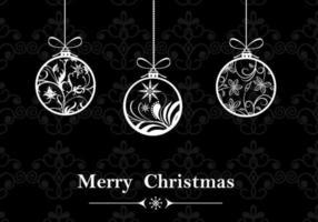 Fundo de papel de parede preto e branco do ornamento de natal