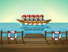 Um barco com homens vetor