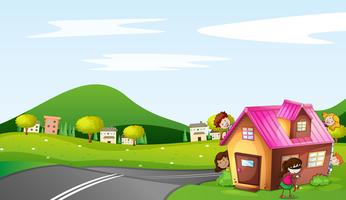 crianças e uma casa vetor