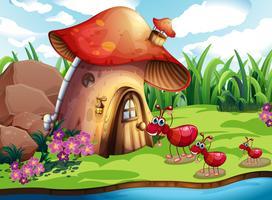 Formiga e Cogumelo vetor