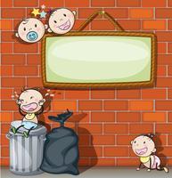 Uma tabuleta vazia pendurada com bebês vetor