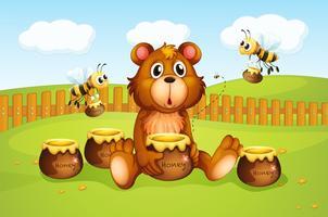 Um urso e abelhas dentro de uma cerca vetor