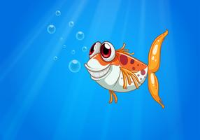 Um peixe laranja com olhos grandes sob o mar