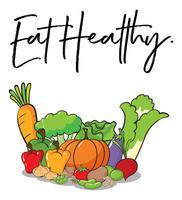 Expressão da palavra para comer saudável com legumes frescos no fundo vetor