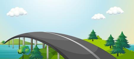 Uma estrada curva ligando duas montanhas vetor