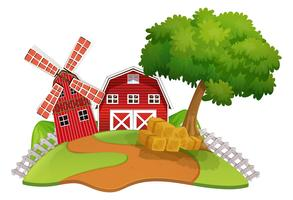 Cena de fazenda com celeiro e moinho de vento vetor