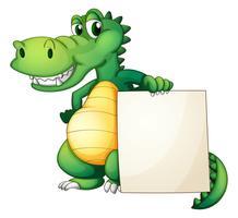 Um, crocodilo, segurando, um, vazio, tábua vetor
