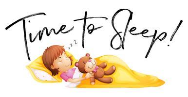 Tempo de frase para dormir com a menina na cama vetor