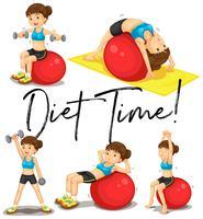 Cartaz de horário de dieta com mulher exercitando com bola vetor